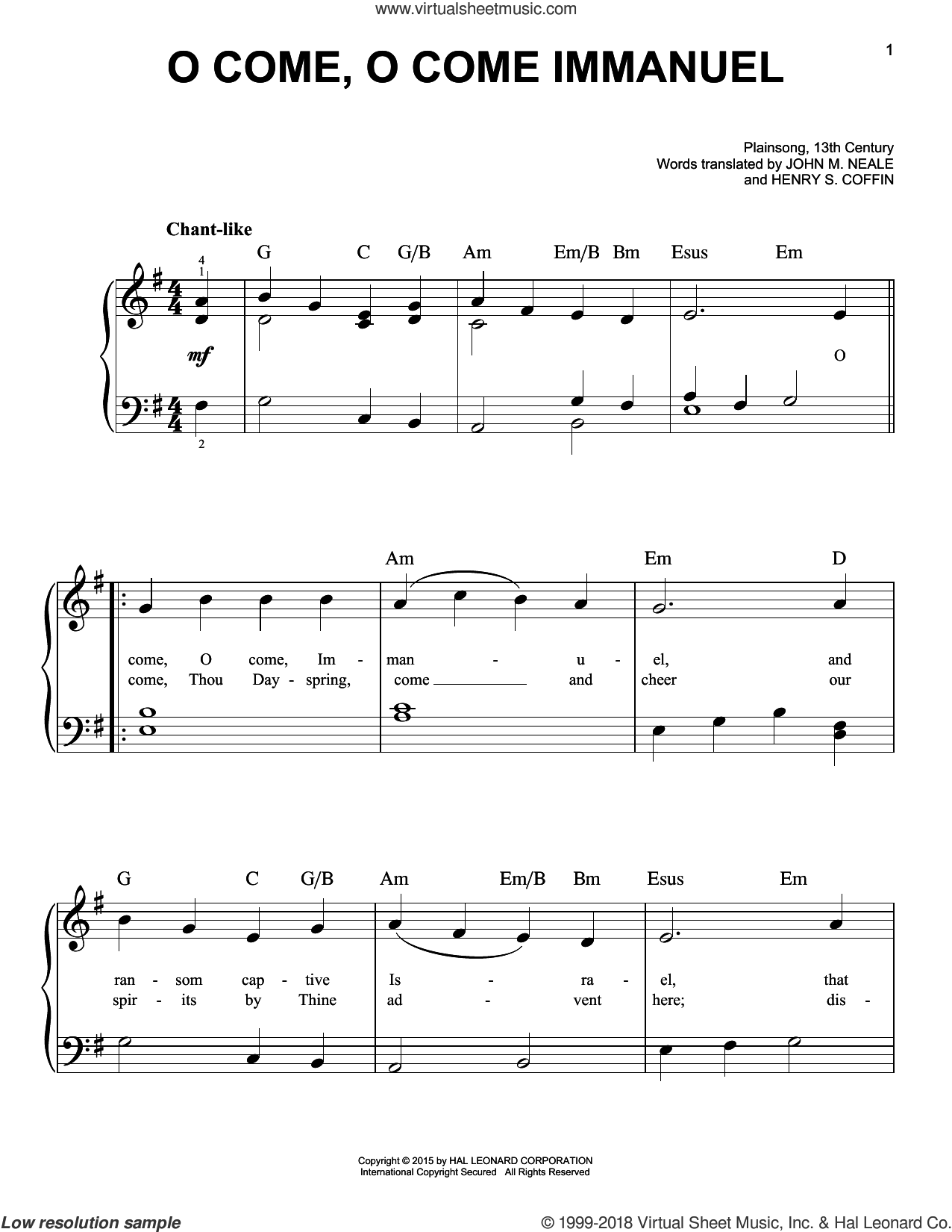 O Come, O Come Immanuel sheet music for piano solo by John Mason Neale, Henry S. Coffin and Plainsong, 13th Century, beginner skill level