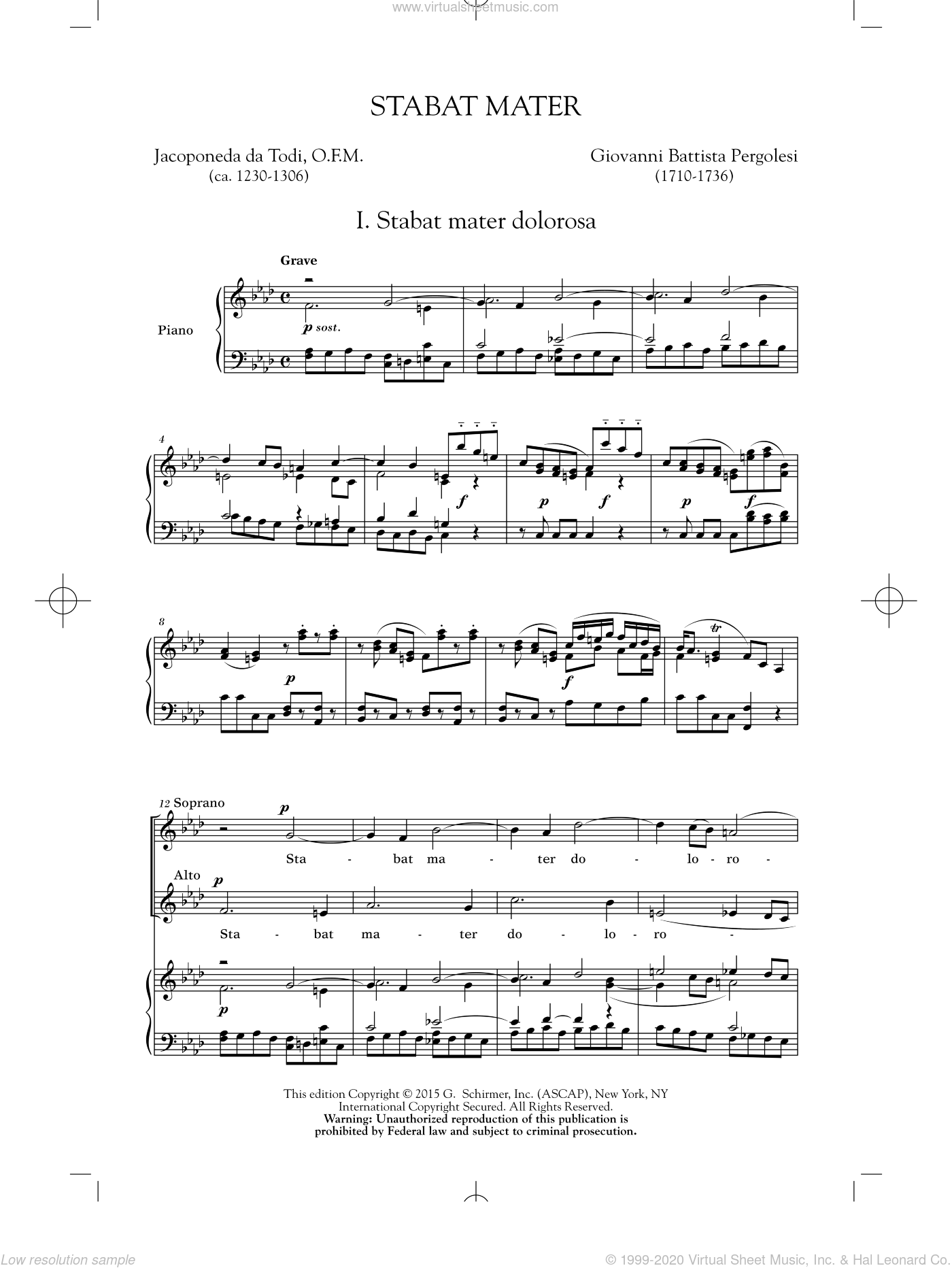 Stabat Mater (First Movement) sheet music for choir (2-Part) by Giovanni Battista Pergolesi, intermediate duet