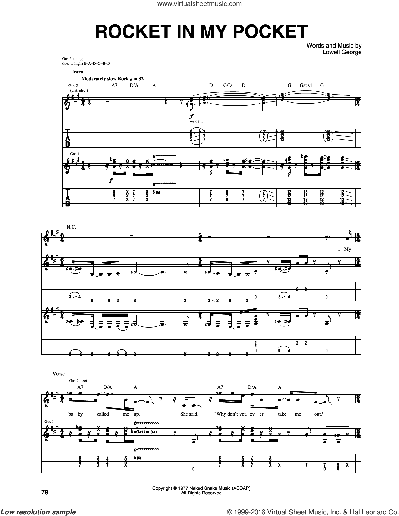 Rocket In My Pocket sheet music for guitar (tablature) by Little Feat and Lowell George, intermediate skill level
