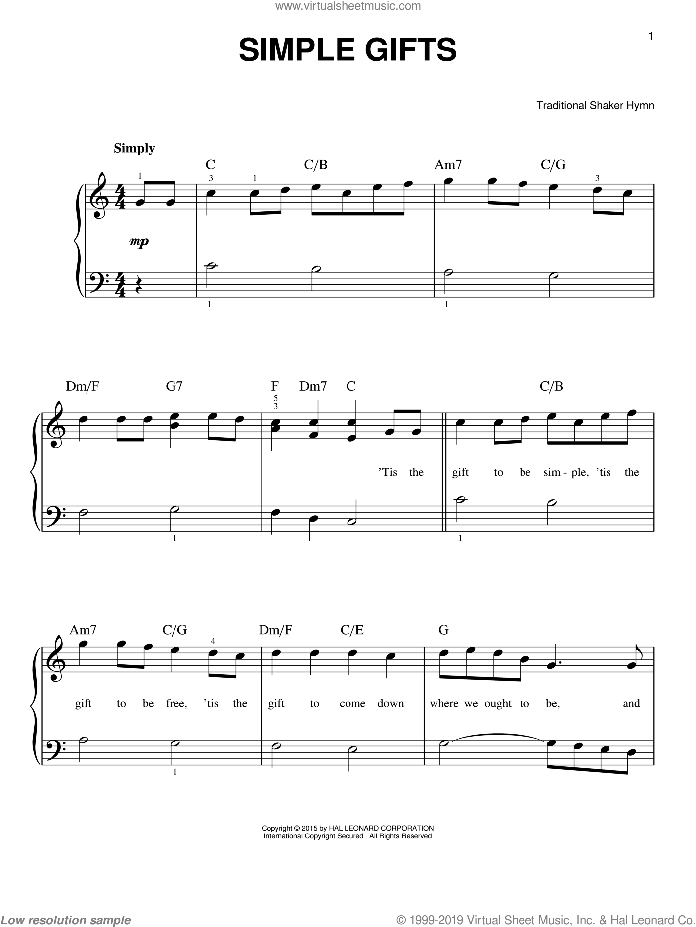 Simple Gifts sheet music for piano solo, beginner skill level