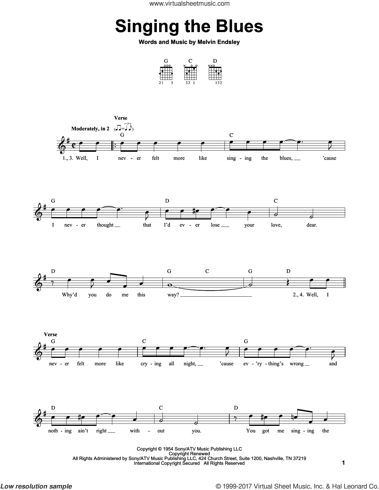 Singing The Blues sheet music for guitar solo (chords) by Marty Robbins, Guy Mitchell and Melvin Endsley, easy guitar (chords)