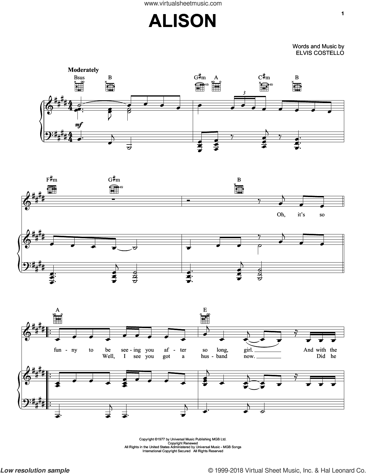 Alison sheet music for voice, piano or guitar by Elvis Costello, intermediate skill level
