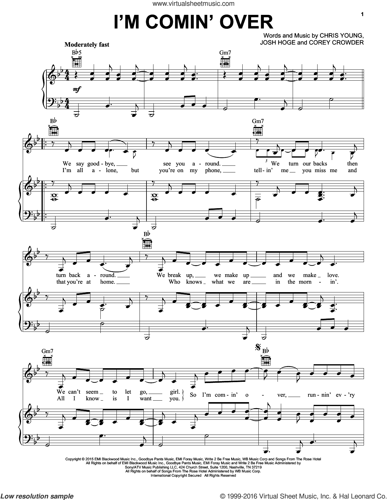 I'm Comin' Over sheet music for voice, piano or guitar by Josh Hoge and Chris Young. Score Image Preview.