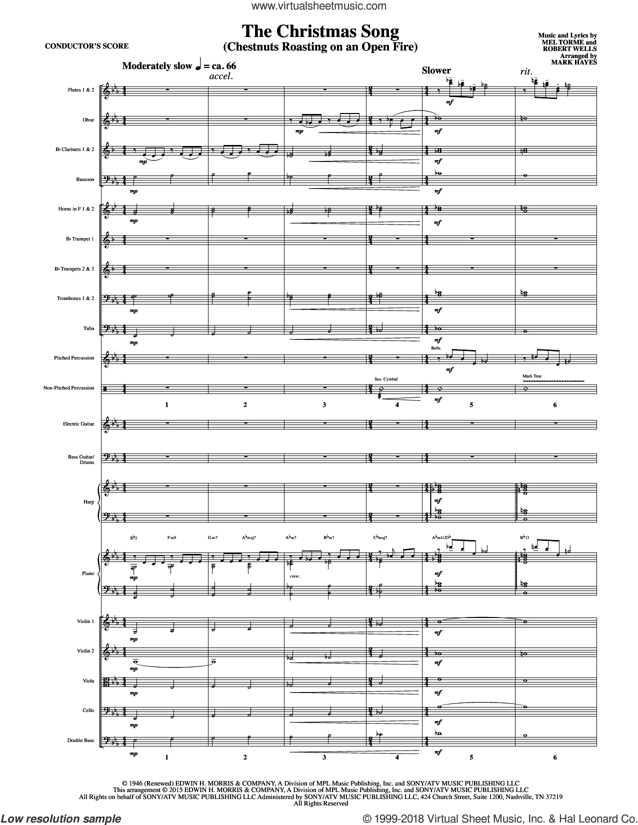 The Christmas Song (Chestnuts Roasting On An Open Fire) sheet music for orchestra/band (full score) by Mel Torme, Mark Hayes, Clay Crosse, King Cole Trio, Nat Cole with N. Riddle Orch., Mel Torme and Robert Wells, intermediate skill level