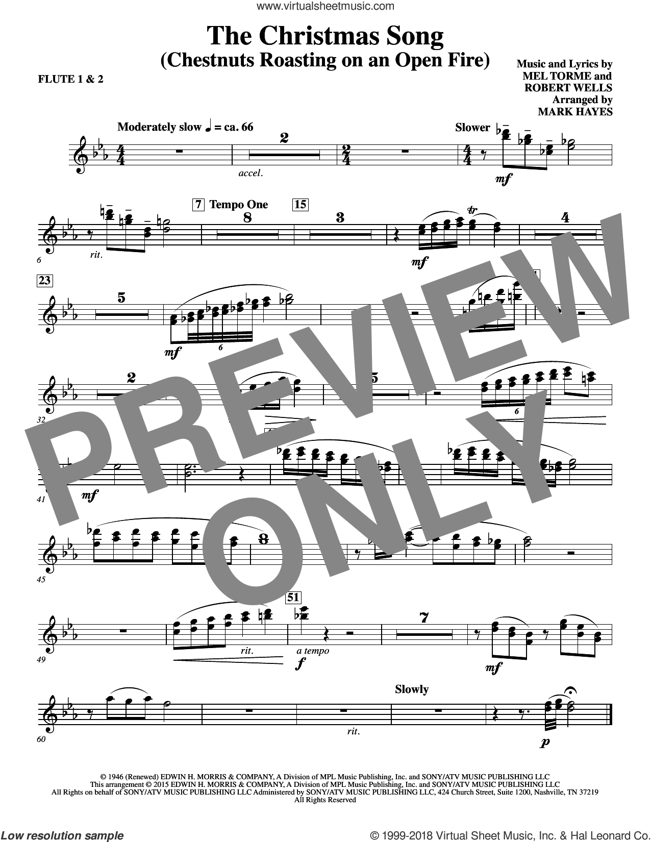 The Christmas Song (Chestnuts Roasting On An Open Fire) sheet music for orchestra/band (flute 1,2) by Mel Torme, Mark Hayes, Clay Crosse, King Cole Trio, Nat Cole with N. Riddle Orch., Mel Torme and Robert Wells, intermediate skill level