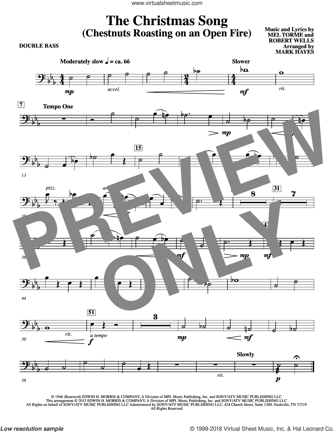 The Christmas Song (Chestnuts Roasting On An Open Fire) sheet music for orchestra/band (double bass) by Mel Torme, Mark Hayes, Clay Crosse, King Cole Trio, Nat Cole with N. Riddle Orch., Mel Torme and Robert Wells, intermediate skill level
