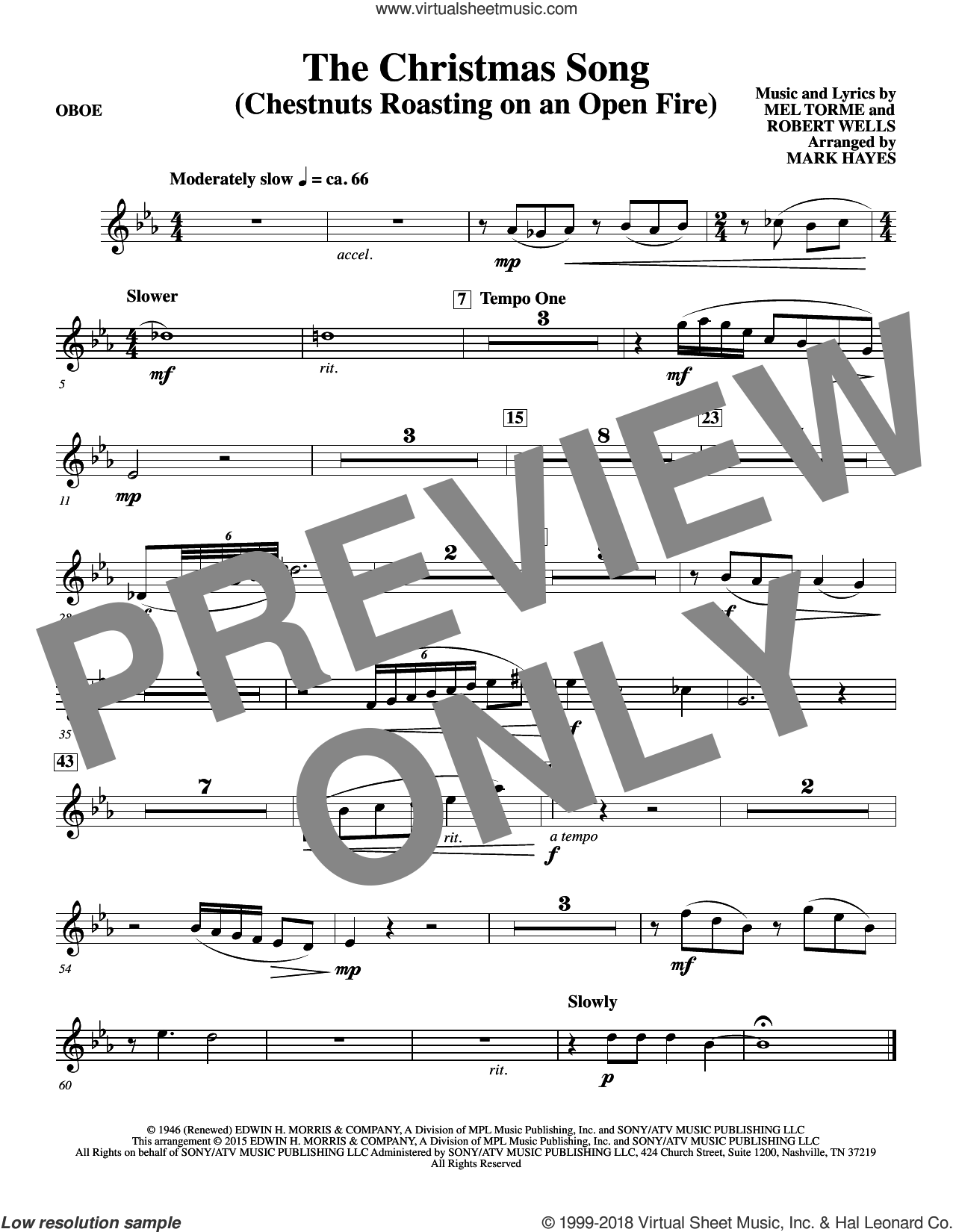 The Christmas Song (Chestnuts Roasting On An Open Fire) sheet music for orchestra/band (oboe) by Mel Torme, Mark Hayes, Clay Crosse, King Cole Trio, Nat Cole with N. Riddle Orch., Mel Torme and Robert Wells, intermediate skill level