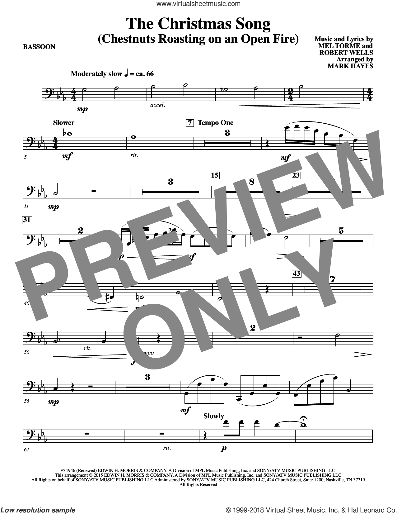 The Christmas Song (Chestnuts Roasting On An Open Fire) sheet music for orchestra/band (bassoon) by Mel Torme, Mark Hayes, Clay Crosse, King Cole Trio, Nat Cole with N. Riddle Orch., Mel Torme and Robert Wells, intermediate skill level