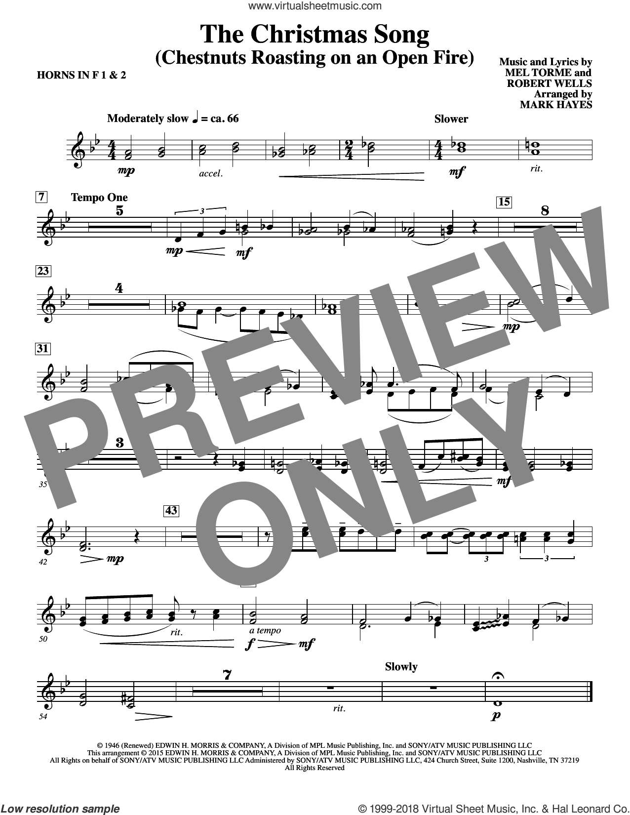 The Christmas Song (Chestnuts Roasting On An Open Fire) sheet music for orchestra/band (f horn 1,2) by Mel Torme, Mark Hayes, Clay Crosse, King Cole Trio, Nat Cole with N. Riddle Orch., Mel Torme and Robert Wells, intermediate skill level