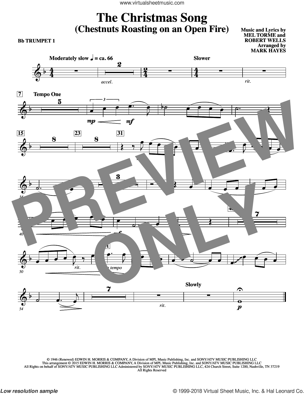 The Christmas Song (Chestnuts Roasting On An Open Fire) sheet music for orchestra/band (Bb trumpet 1) by Mel Torme, Mark Hayes, Clay Crosse, King Cole Trio, Nat Cole with N. Riddle Orch., Mel Torme and Robert Wells, intermediate skill level