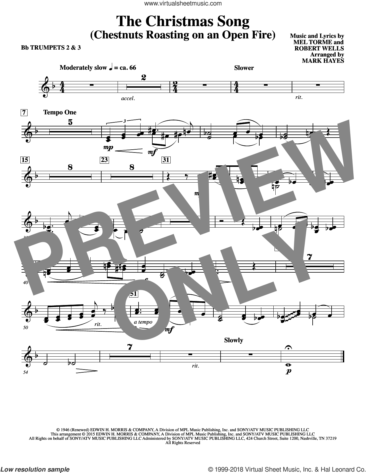 The Christmas Song (Chestnuts Roasting On An Open Fire) sheet music for orchestra/band (Bb trumpet 2,3) by Mel Torme, Mark Hayes, Clay Crosse, King Cole Trio, Nat Cole with N. Riddle Orch., Mel Torme and Robert Wells, intermediate skill level