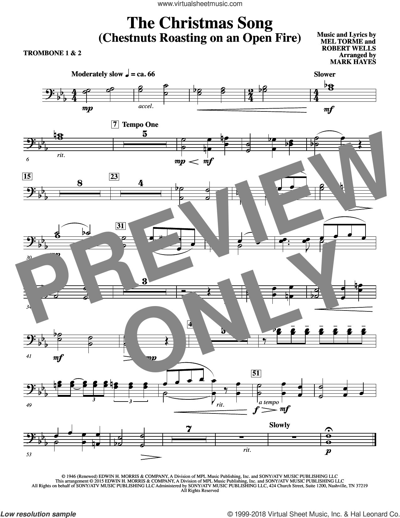 The Christmas Song (Chestnuts Roasting On An Open Fire) sheet music for orchestra/band (trombone 1,2) by Mel Torme, Mark Hayes, Clay Crosse, King Cole Trio, Nat Cole with N. Riddle Orch., Mel Torme and Robert Wells, intermediate skill level