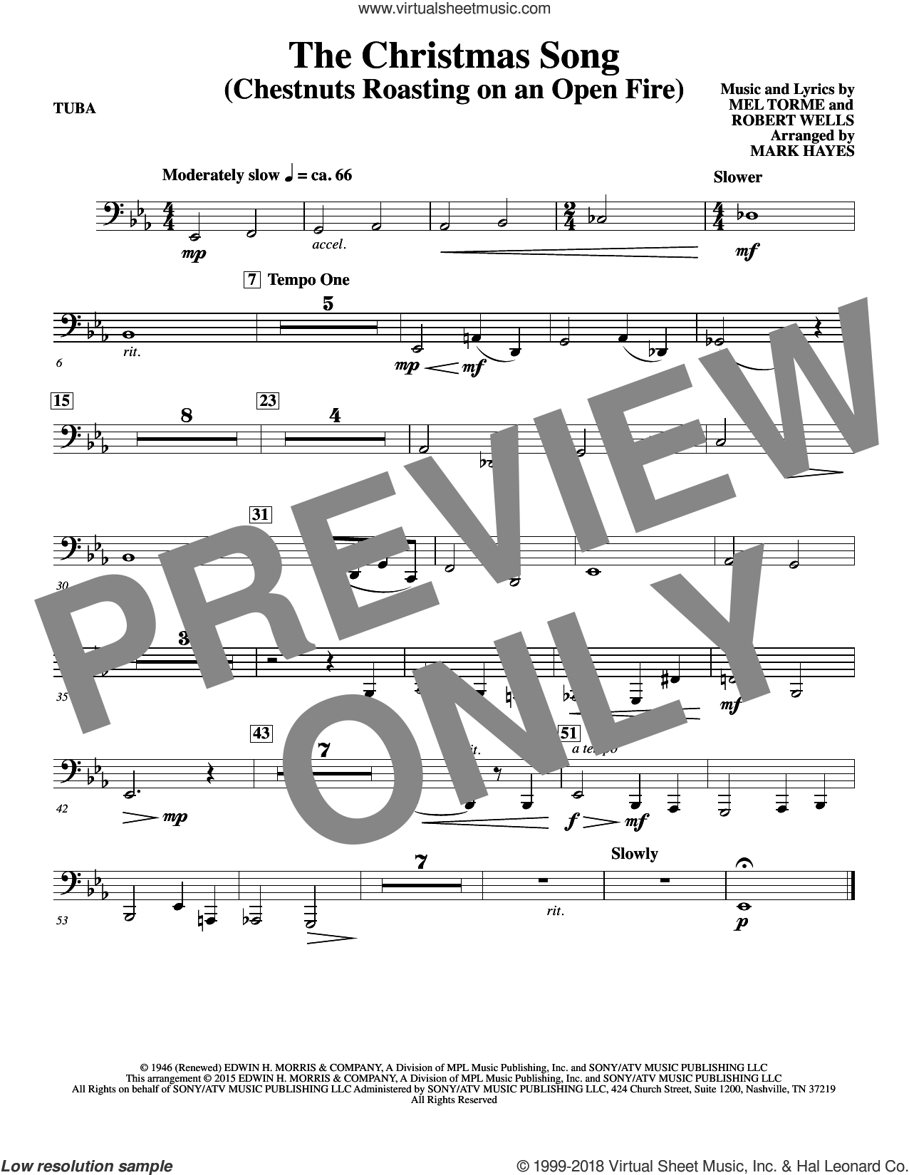 The Christmas Song (Chestnuts Roasting On An Open Fire) sheet music for orchestra/band (tuba) by Mel Torme, Mark Hayes, Clay Crosse, King Cole Trio, Nat Cole with N. Riddle Orch., Mel Torme and Robert Wells, intermediate skill level