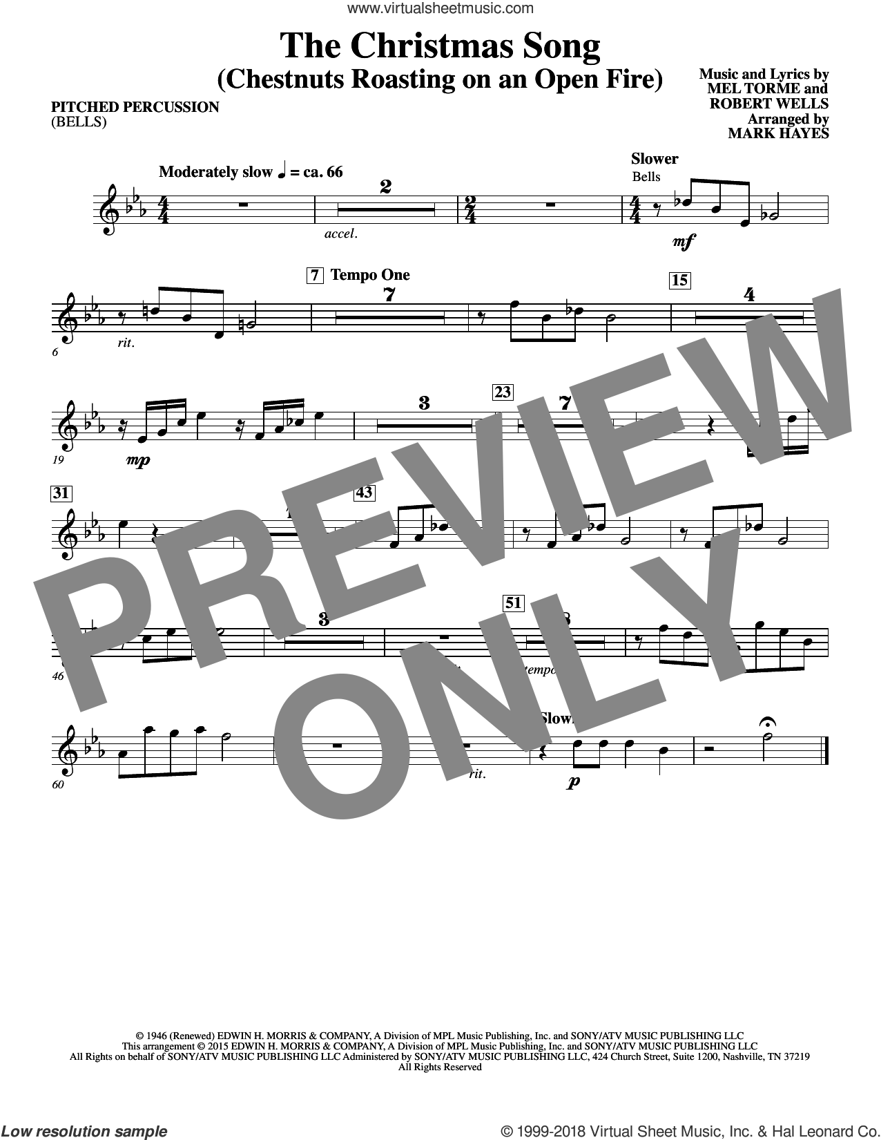 The Christmas Song (Chestnuts Roasting On An Open Fire) sheet music for orchestra/band (bells) by Mel Torme, Mark Hayes, Clay Crosse, King Cole Trio, Nat Cole with N. Riddle Orch., Mel Torme and Robert Wells, intermediate skill level