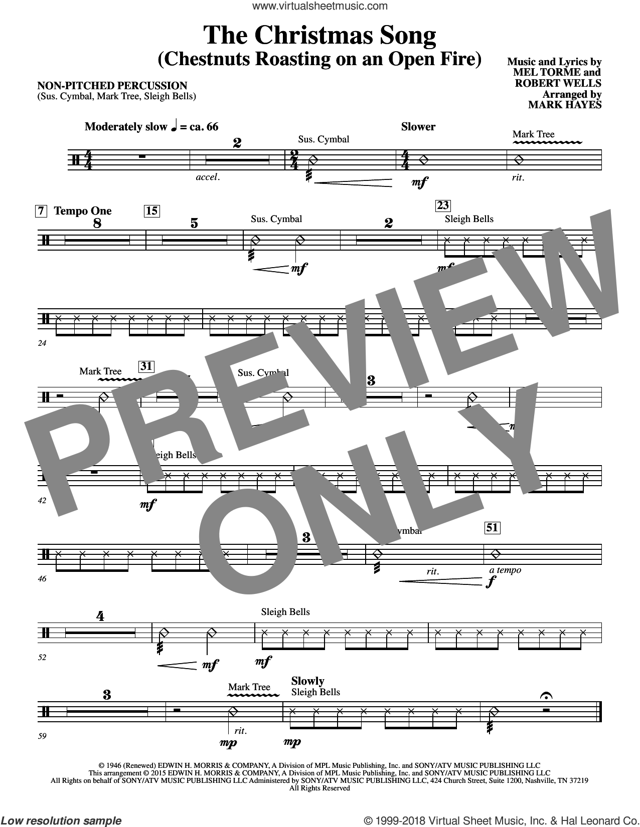 The Christmas Song (Chestnuts Roasting On An Open Fire) sheet music for orchestra/band (aux percussion) by Mel Torme, Mark Hayes, Clay Crosse, King Cole Trio, Nat Cole with N. Riddle Orch., Mel Torme and Robert Wells, intermediate skill level