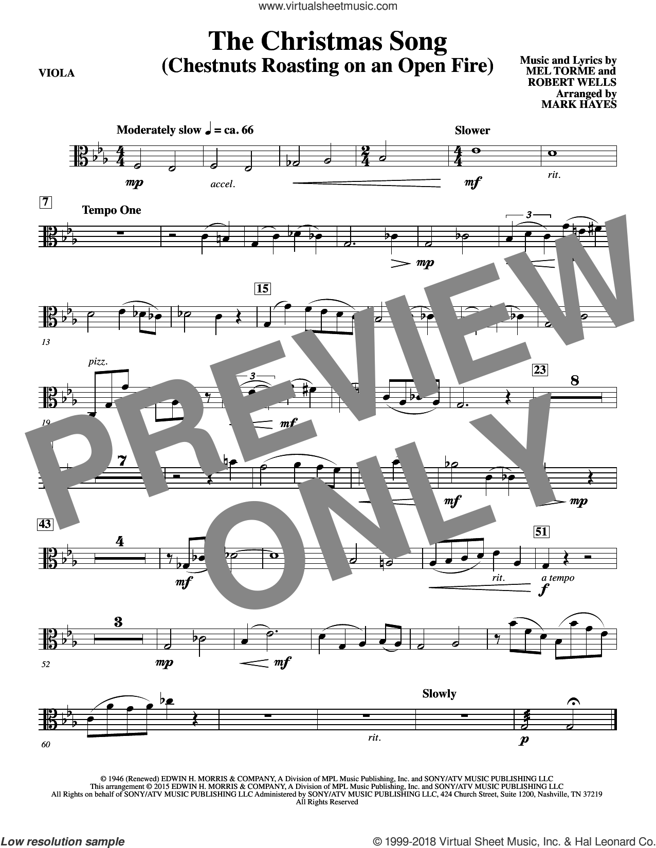 The Christmas Song (Chestnuts Roasting On An Open Fire) sheet music for orchestra/band (viola) by Mel Torme, Mark Hayes, Clay Crosse, King Cole Trio, Nat Cole with N. Riddle Orch., Mel Torme and Robert Wells, intermediate skill level
