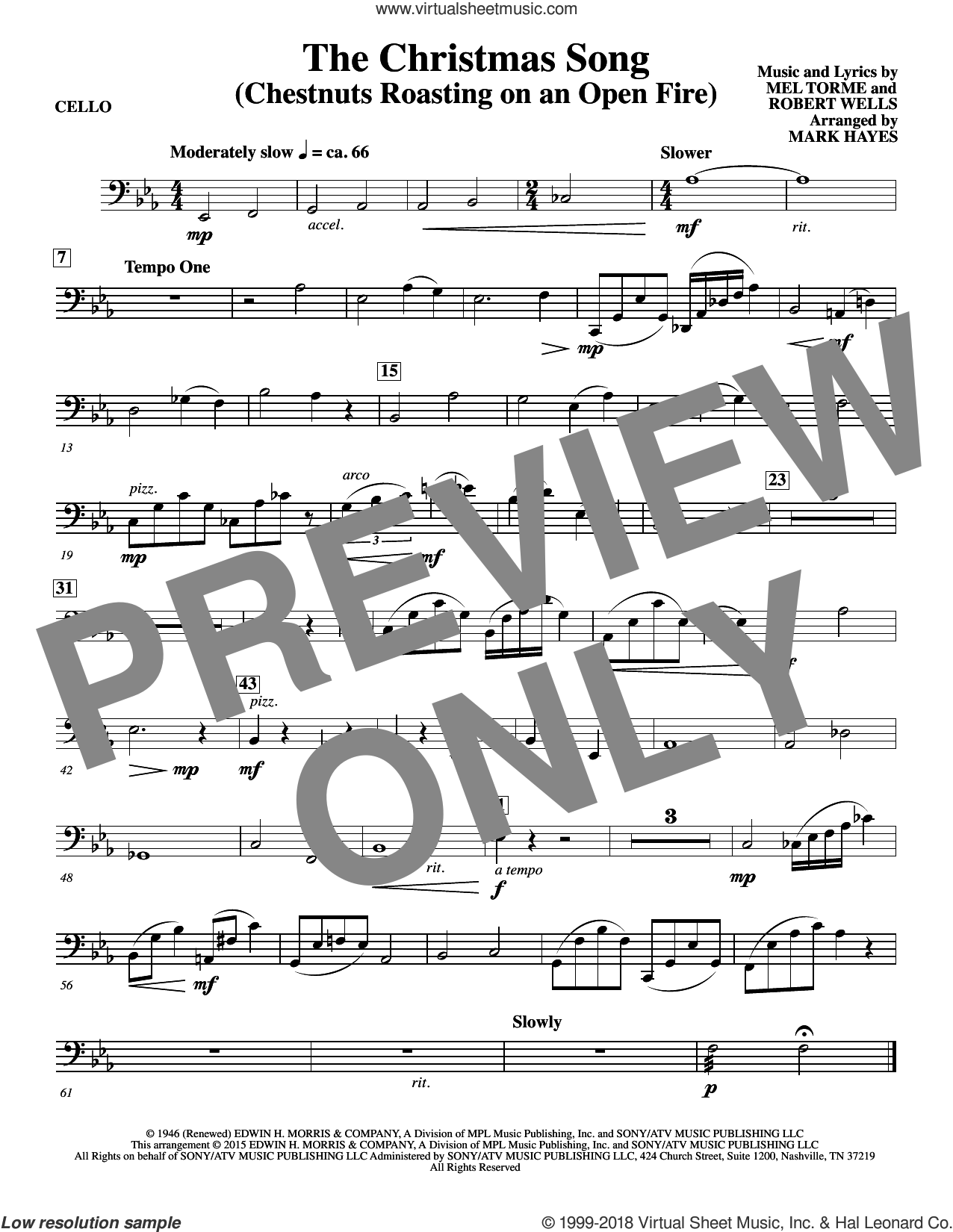 The Christmas Song (Chestnuts Roasting On An Open Fire) sheet music for orchestra/band (cello) by Mel Torme, Mark Hayes, Clay Crosse, King Cole Trio, Nat Cole with N. Riddle Orch., Mel Torme and Robert Wells, intermediate skill level