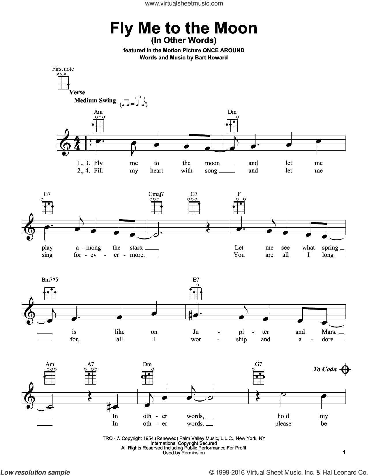 Fly Me To The Moon (In Other Words) sheet music for ukulele by Bobby Darin, Bart Howard and Tony Bennett, intermediate skill level