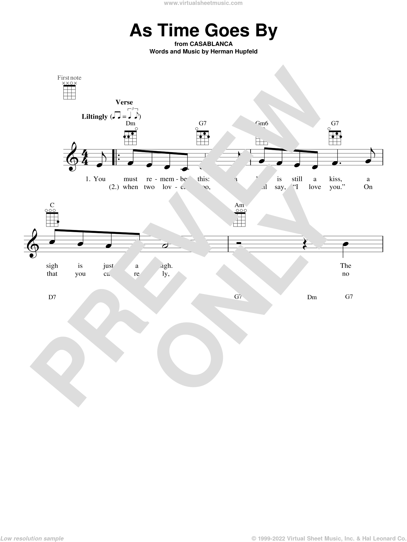 As Time Goes By sheet music for ukulele by Herman Hupfeld, Johnny Nash and Nilsson, intermediate skill level