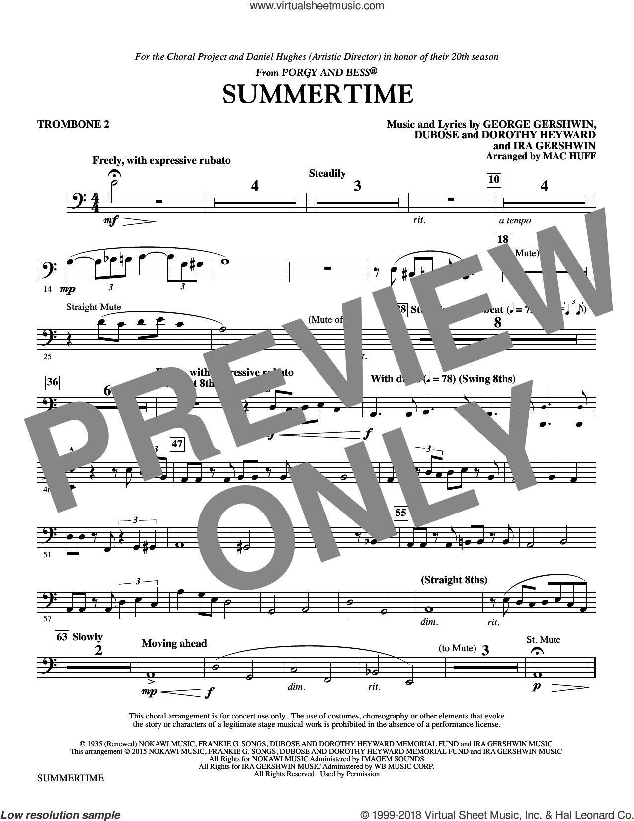 Summertime sheet music for orchestra/band (trombone 2) by George Gershwin, Dorothy Heyward, DuBose Heyward, Ira Gershwin and Mac Huff, intermediate skill level
