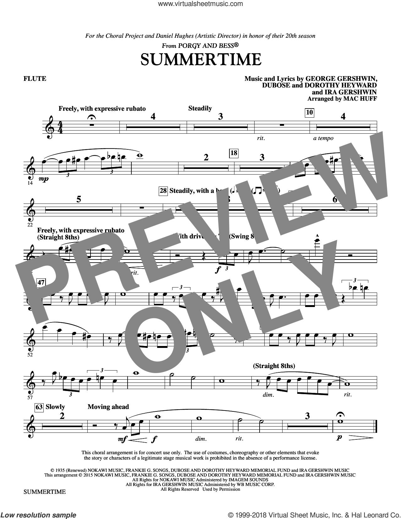 Summertime (arr. Mac Huff) (complete set of parts) sheet music for orchestra/band by George Gershwin, Dorothy Heyward, DuBose Heyward, Ira Gershwin and Mac Huff, intermediate skill level