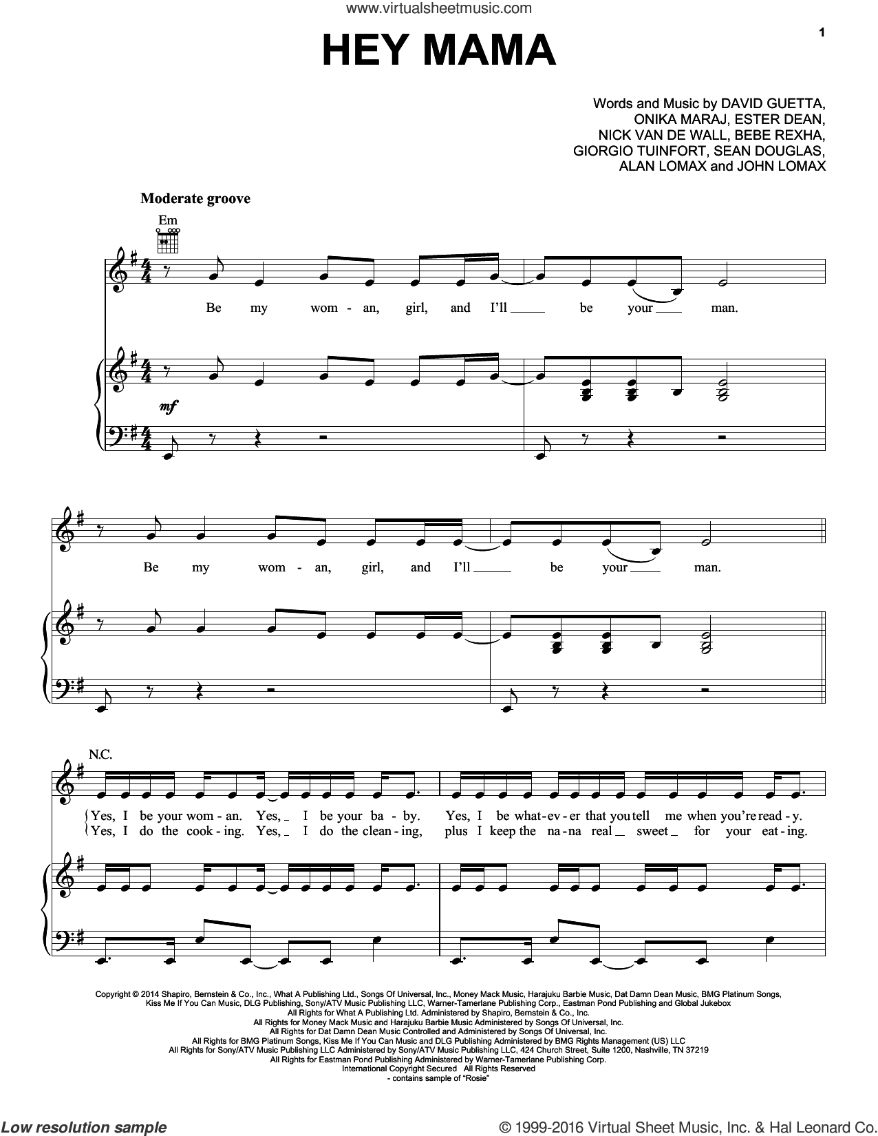 Hey Mama sheet music for voice, piano or guitar by David Guetta feat. Nicki Minaj & Afrojack, Bebe Rexha, David Guetta, Ester Dean, Giorgio Tuinfort, John A. Lomax, Nick Van De Wall, Nicki Minaj and Sean Douglas, intermediate skill level