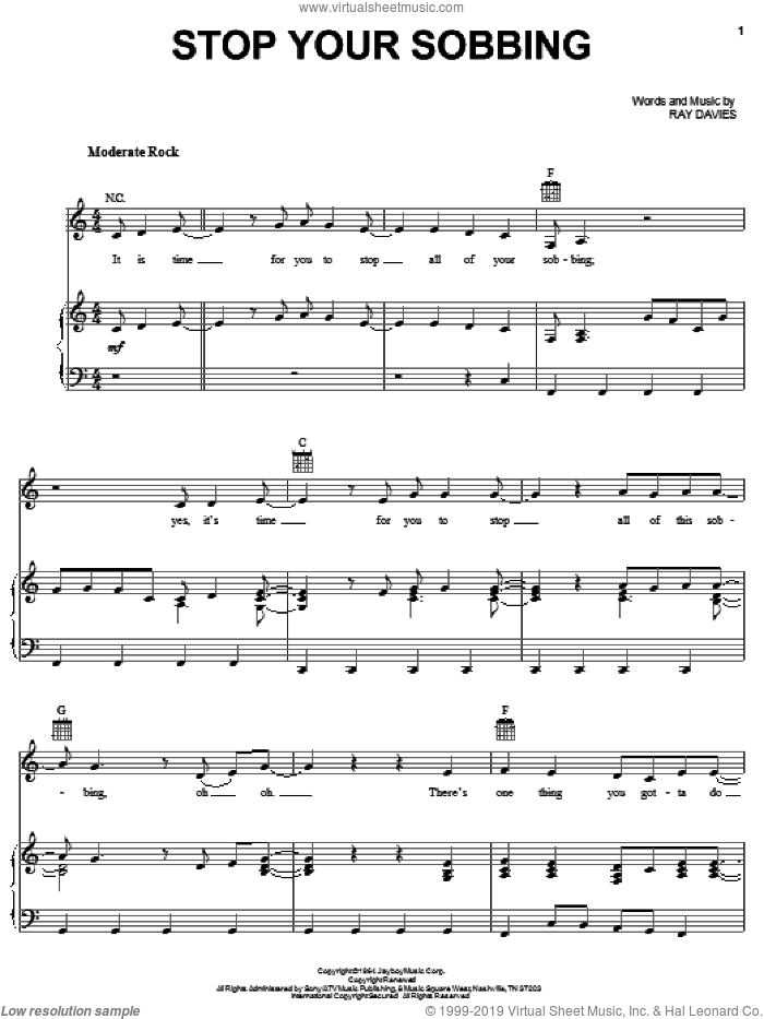Stop Your Sobbing sheet music for voice, piano or guitar by The Pretenders, The Kinks and Ray Davies, intermediate voice, piano or guitar. Score Image Preview.