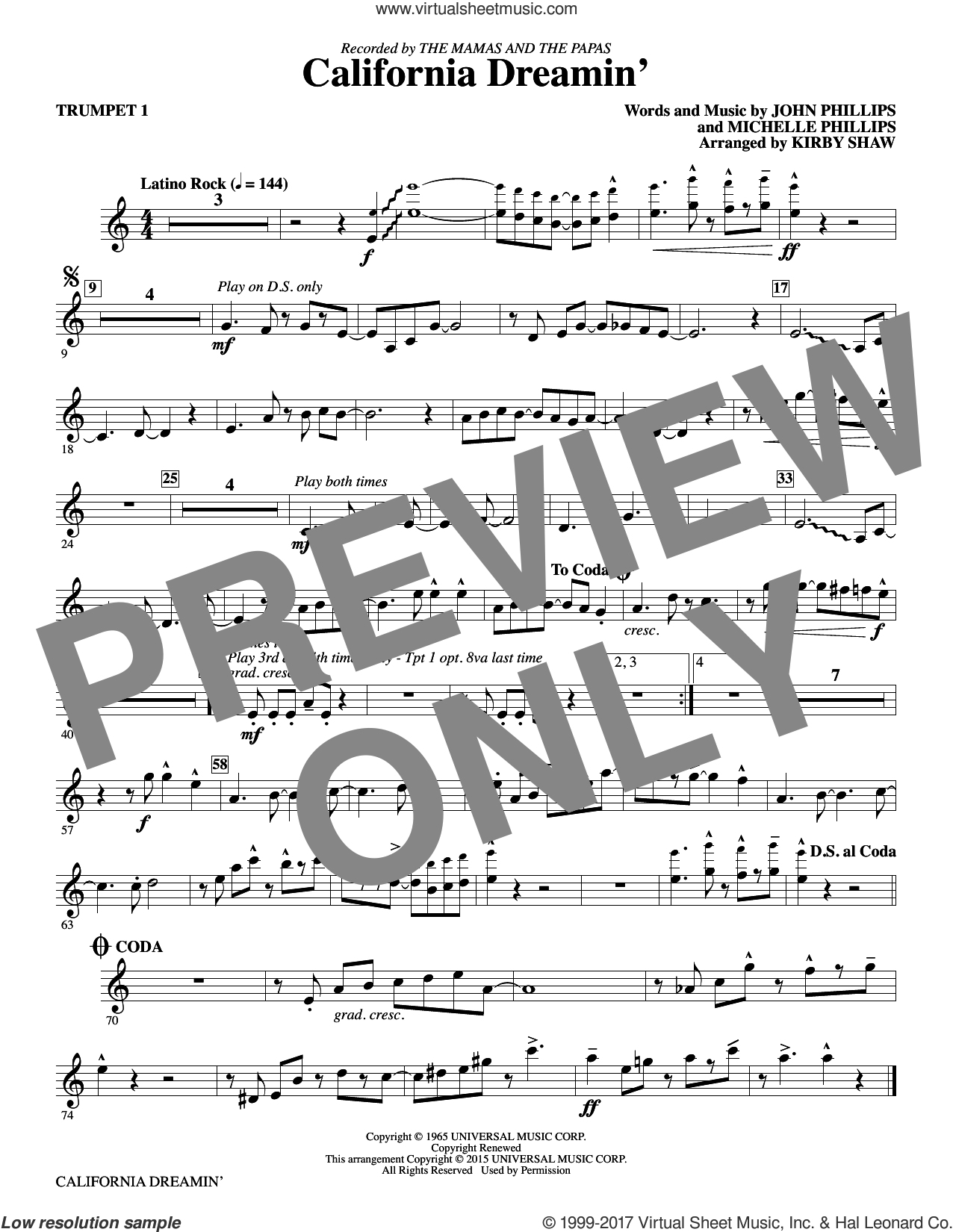 California Dreamin' (complete set of parts) sheet music for orchestra/band by Kirby Shaw, John Phillips, Michelle Phillips and The Mamas & The Papas, intermediate. Score Image Preview.