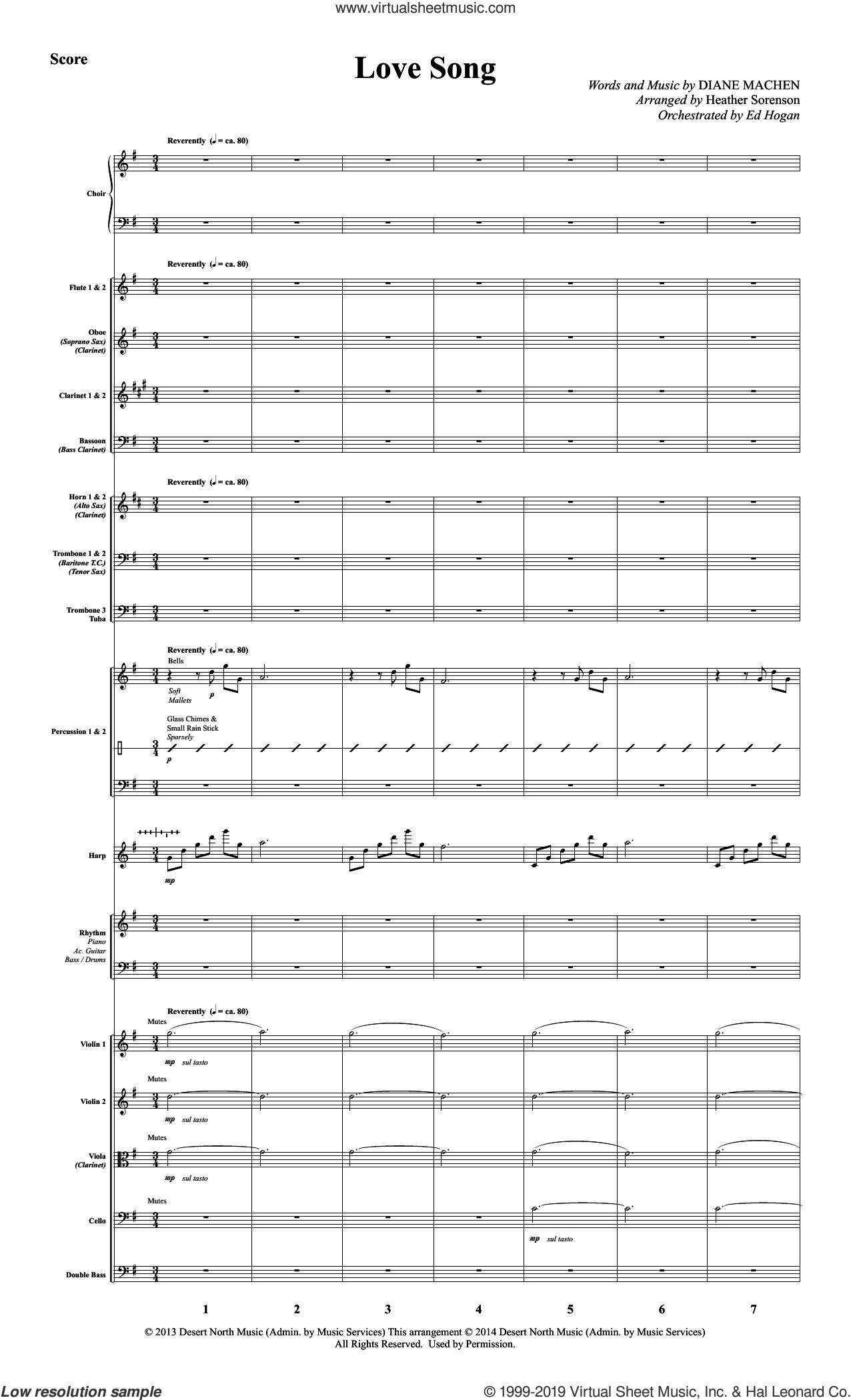 Love Song (COMPLETE) sheet music for orchestra/band by Heather Sorenson and Diane Machen, intermediate skill level