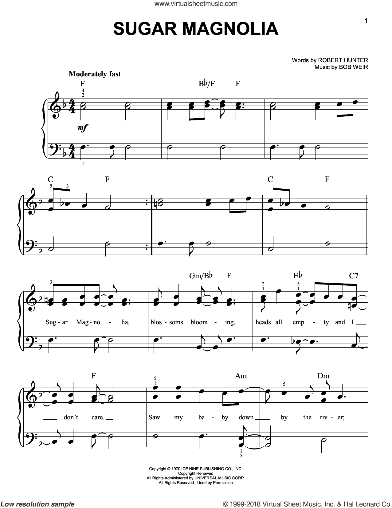 Sugar Magnolia sheet music for piano solo by Robert Hunter, Grateful Dead and Bob Weir. Score Image Preview.