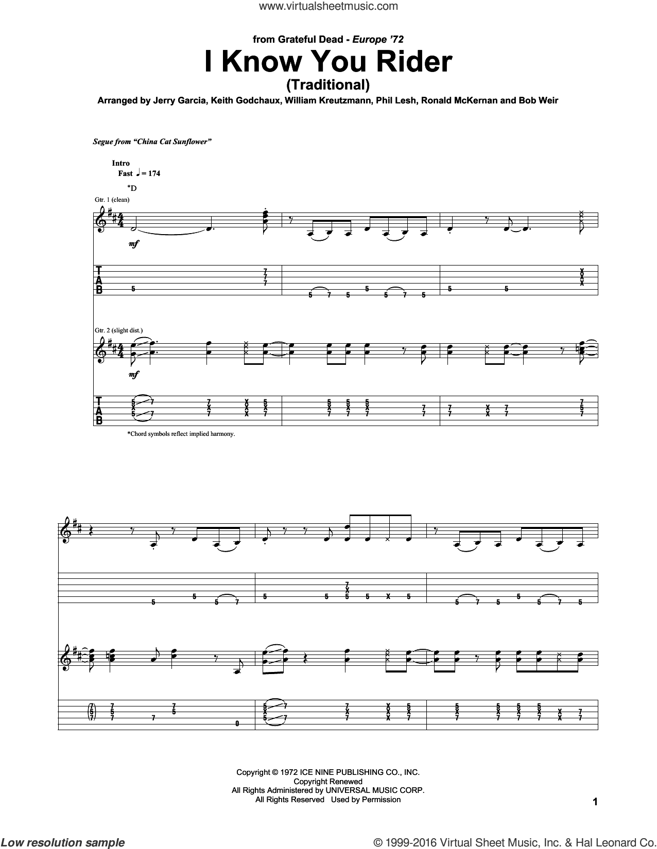 I Know You Rider sheet music for guitar (tablature) by Grateful Dead, intermediate. Score Image Preview.