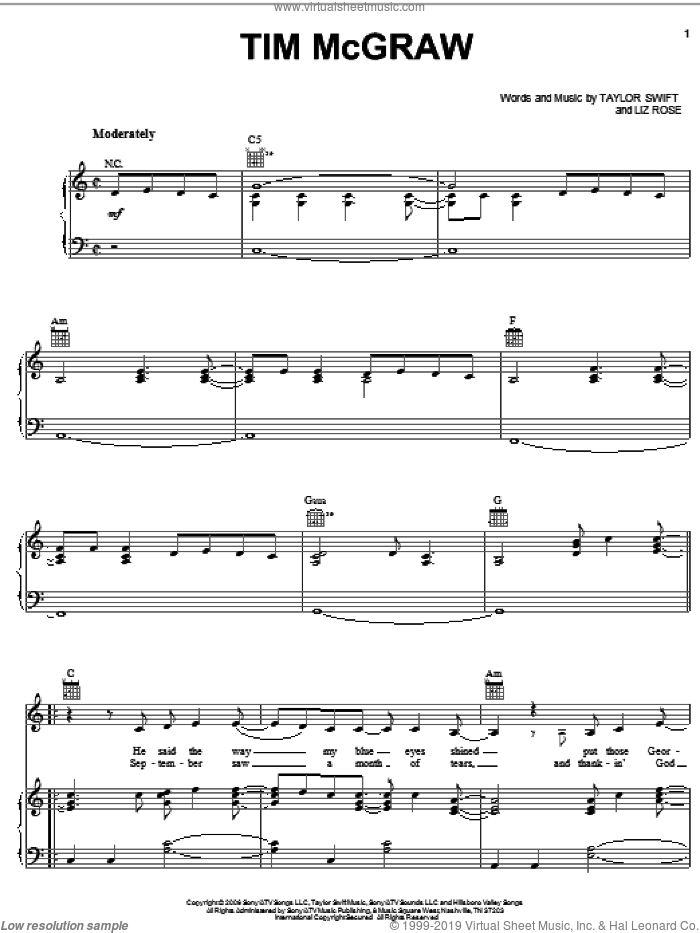 Tim McGraw sheet music for voice, piano or guitar by Liz Rose and Taylor Swift. Score Image Preview.