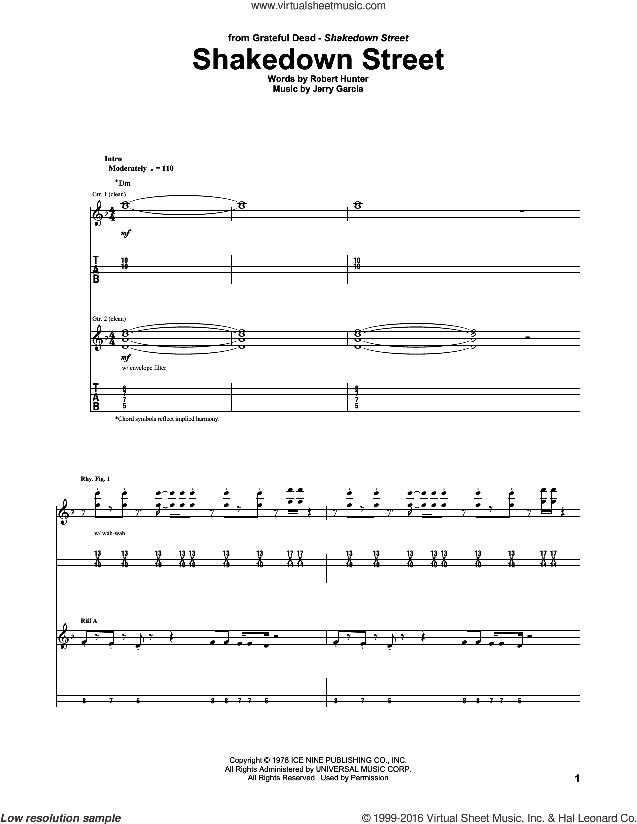 Shakedown Street sheet music for guitar (tablature) by Grateful Dead, Jerry Garcia and Robert Hunter, intermediate skill level