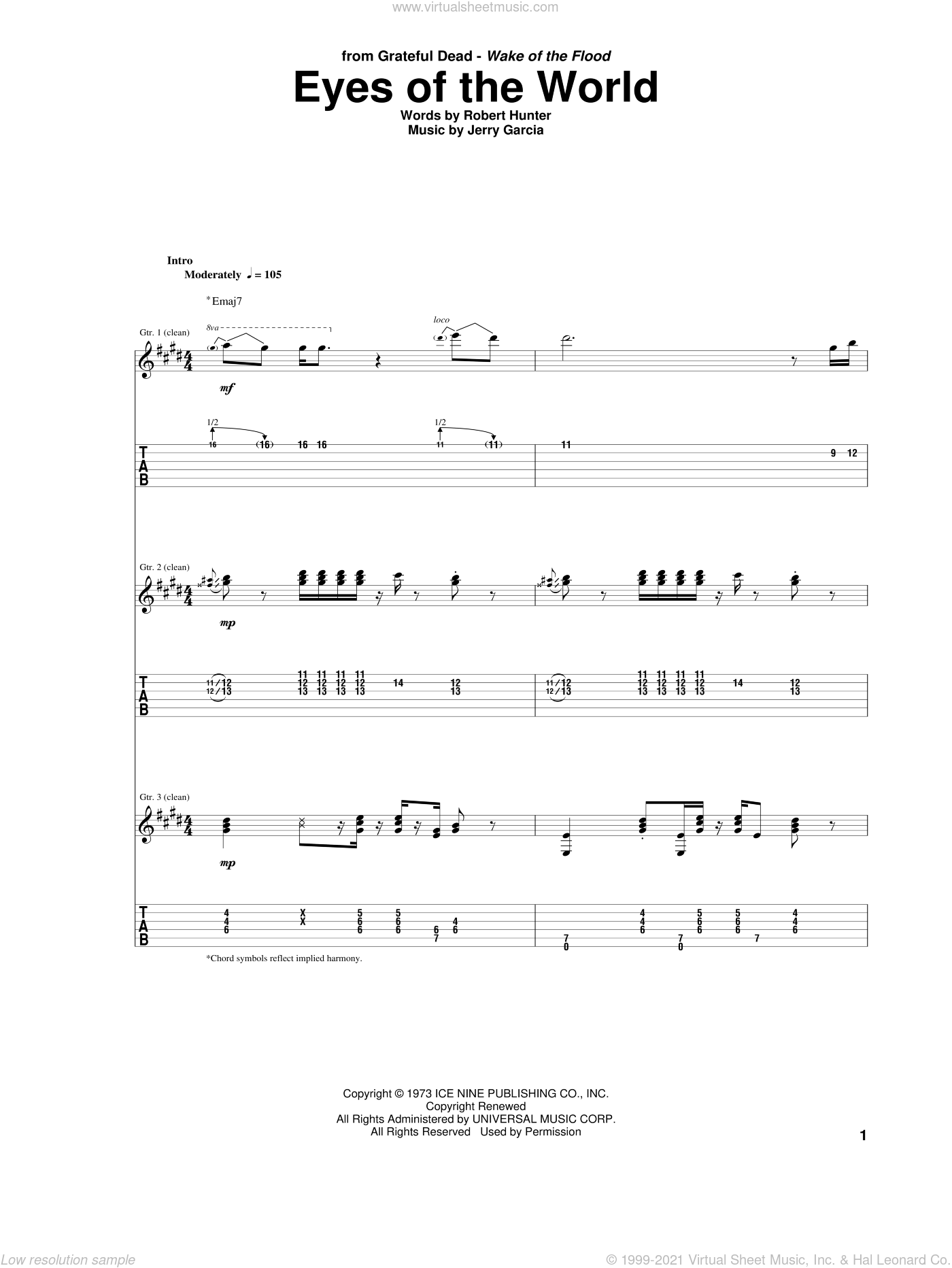 Eyes Of The World sheet music for guitar (tablature) by Grateful Dead, Jerry Garcia and Robert Hunter, intermediate