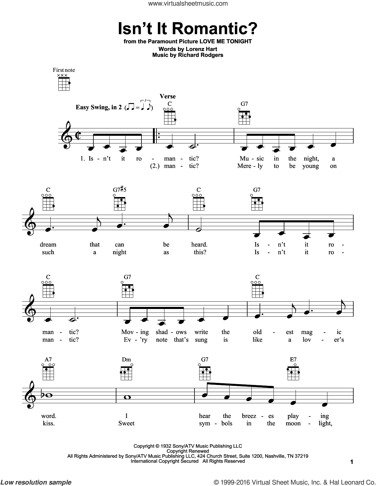 Isn't It Romantic? sheet music for ukulele by Richard Rodgers, Rodgers & Hart and Lorenz Hart. Score Image Preview.