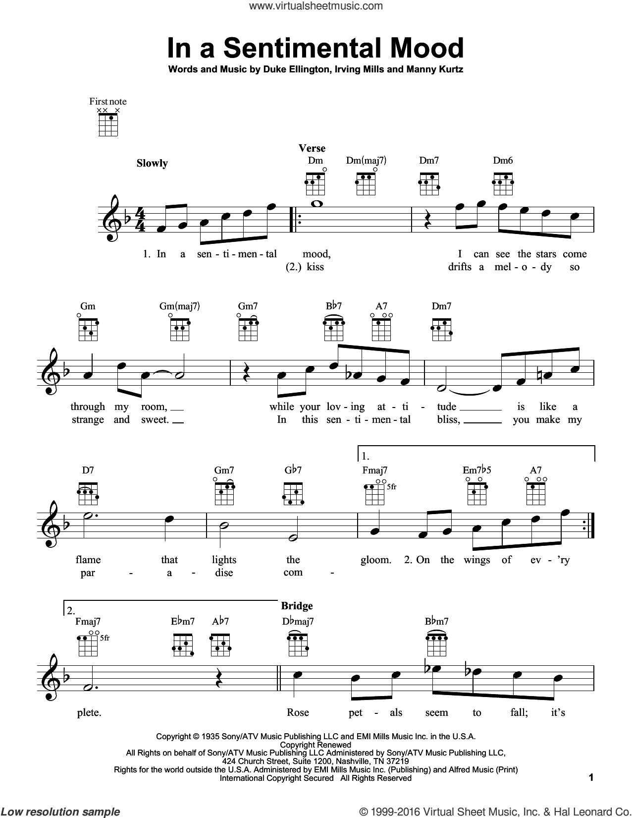 In A Sentimental Mood sheet music for ukulele by Duke Ellington, Irving Mills and Manny Kurtz, intermediate skill level