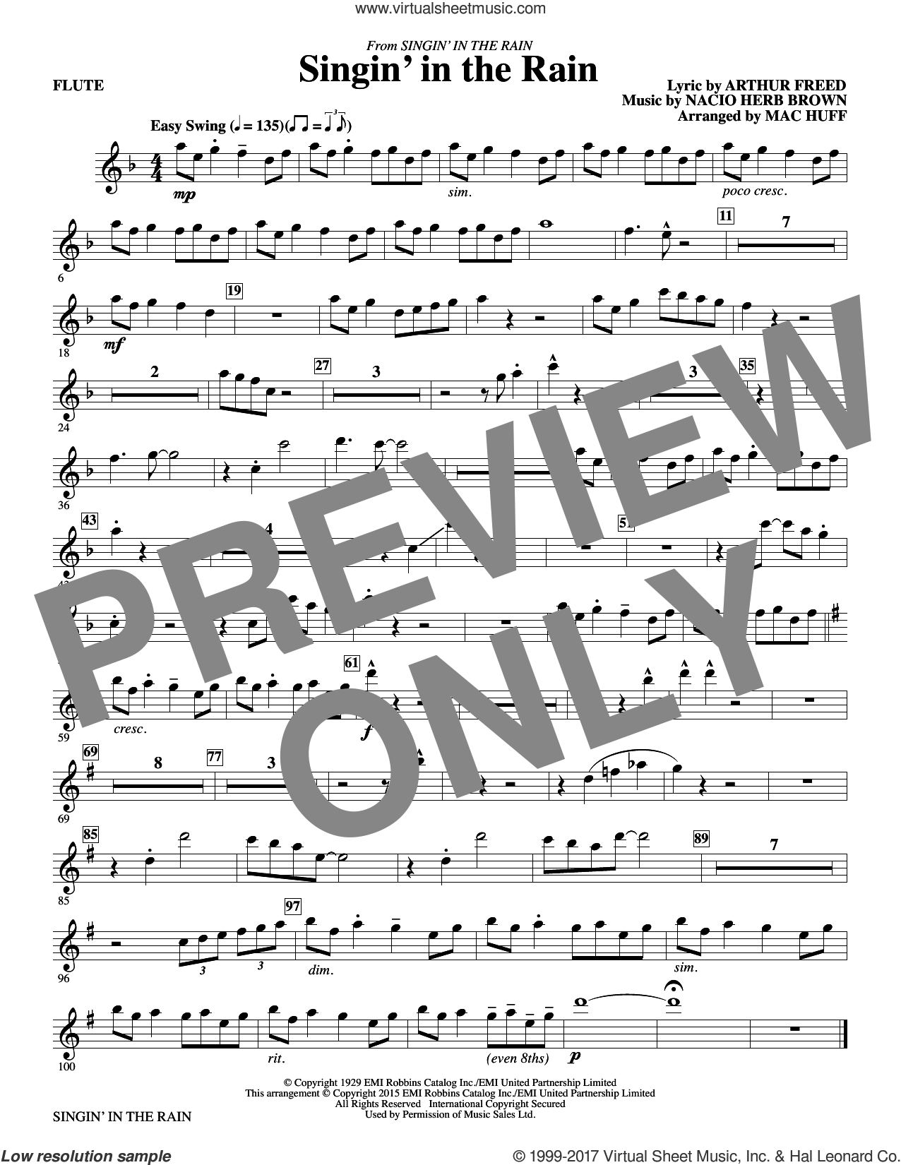 Singin' in the Rain (complete set of parts) sheet music for orchestra/band by Mac Huff, Arthur Freed and Nacio Herb Brown, intermediate skill level