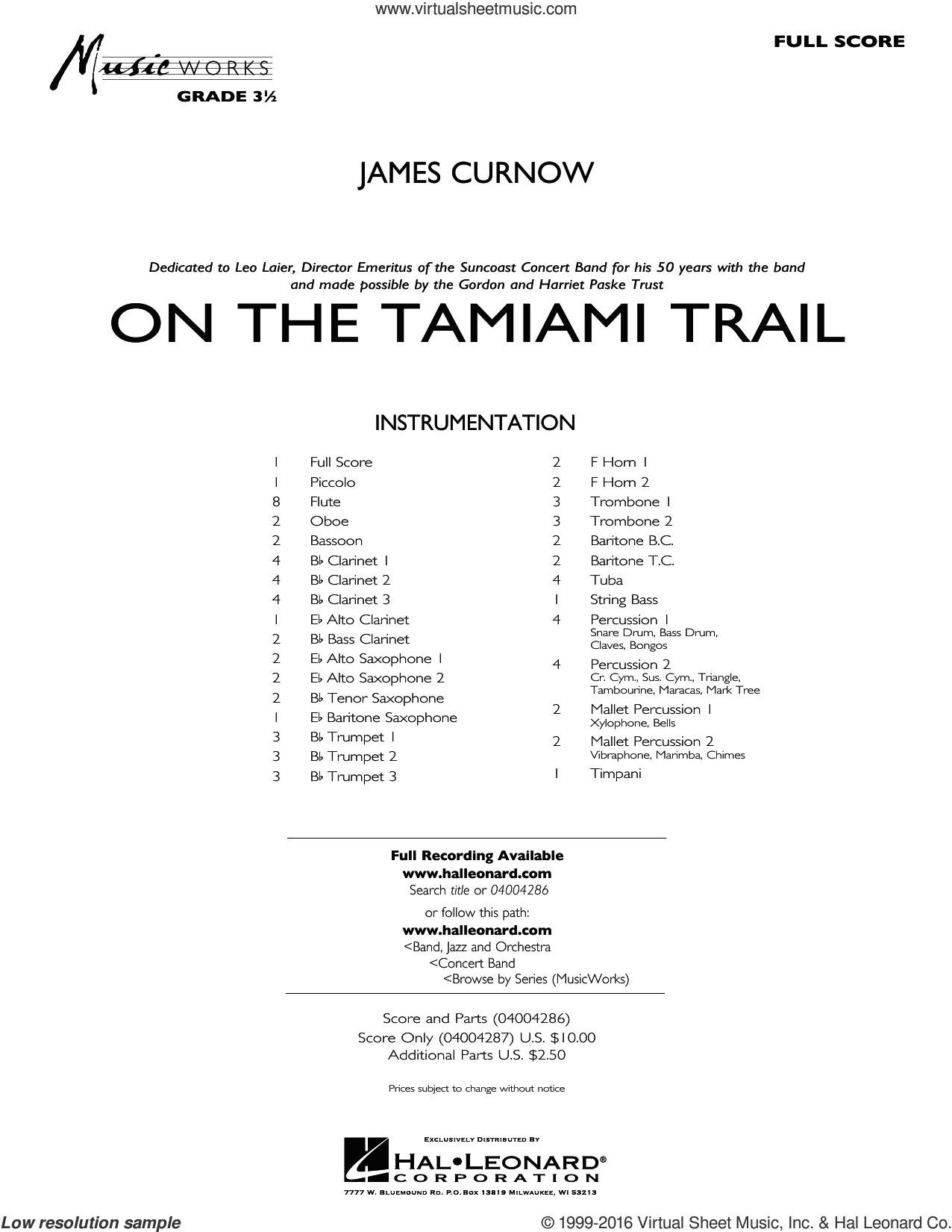 On the Tamiami Trail sheet music for concert band (full score) by James Curnow. Score Image Preview.