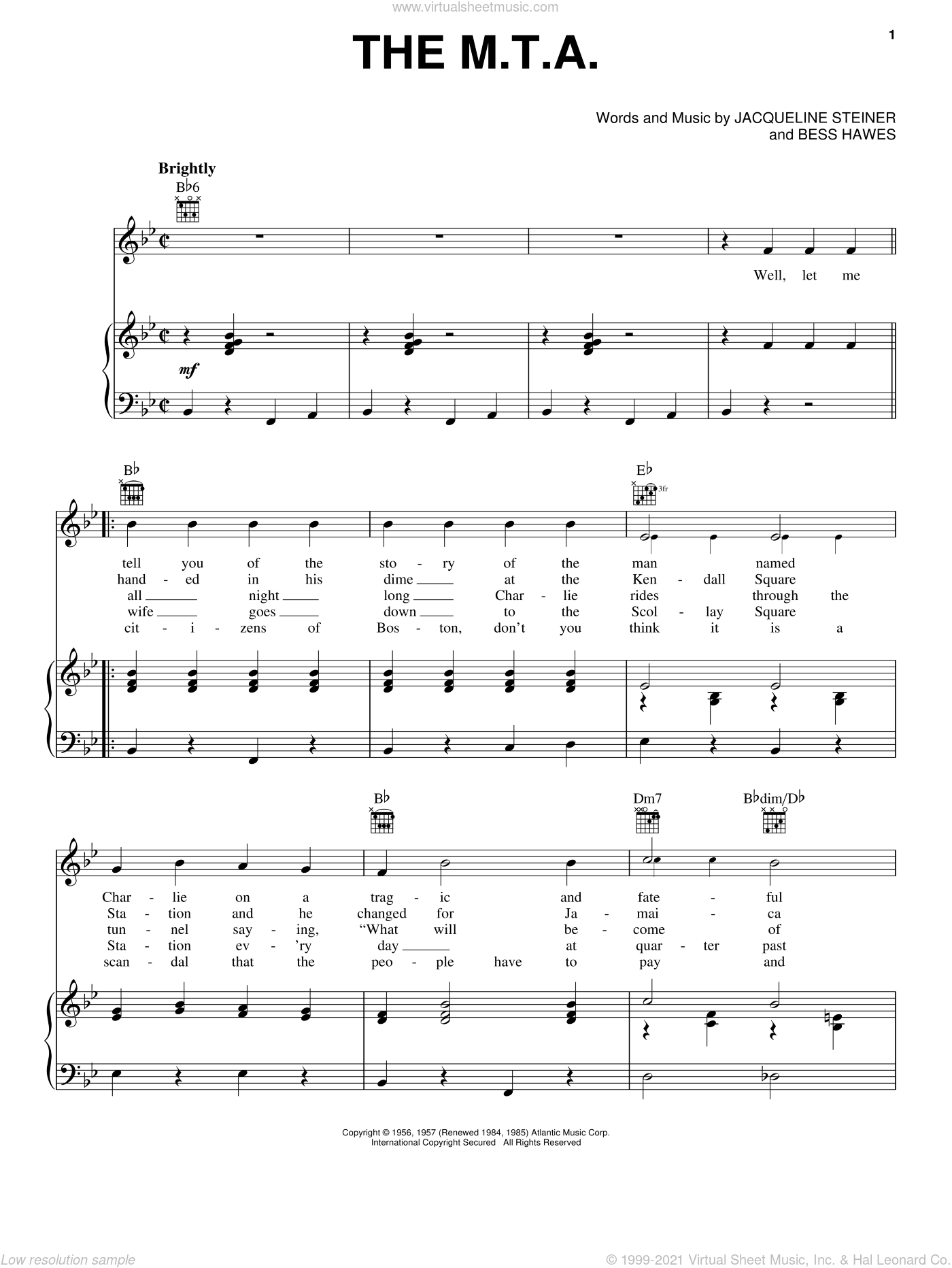 The M.T.A. sheet music for voice, piano or guitar by The Kingston Trio, Bess Hawes and Jacqueline Steiner, intermediate skill level