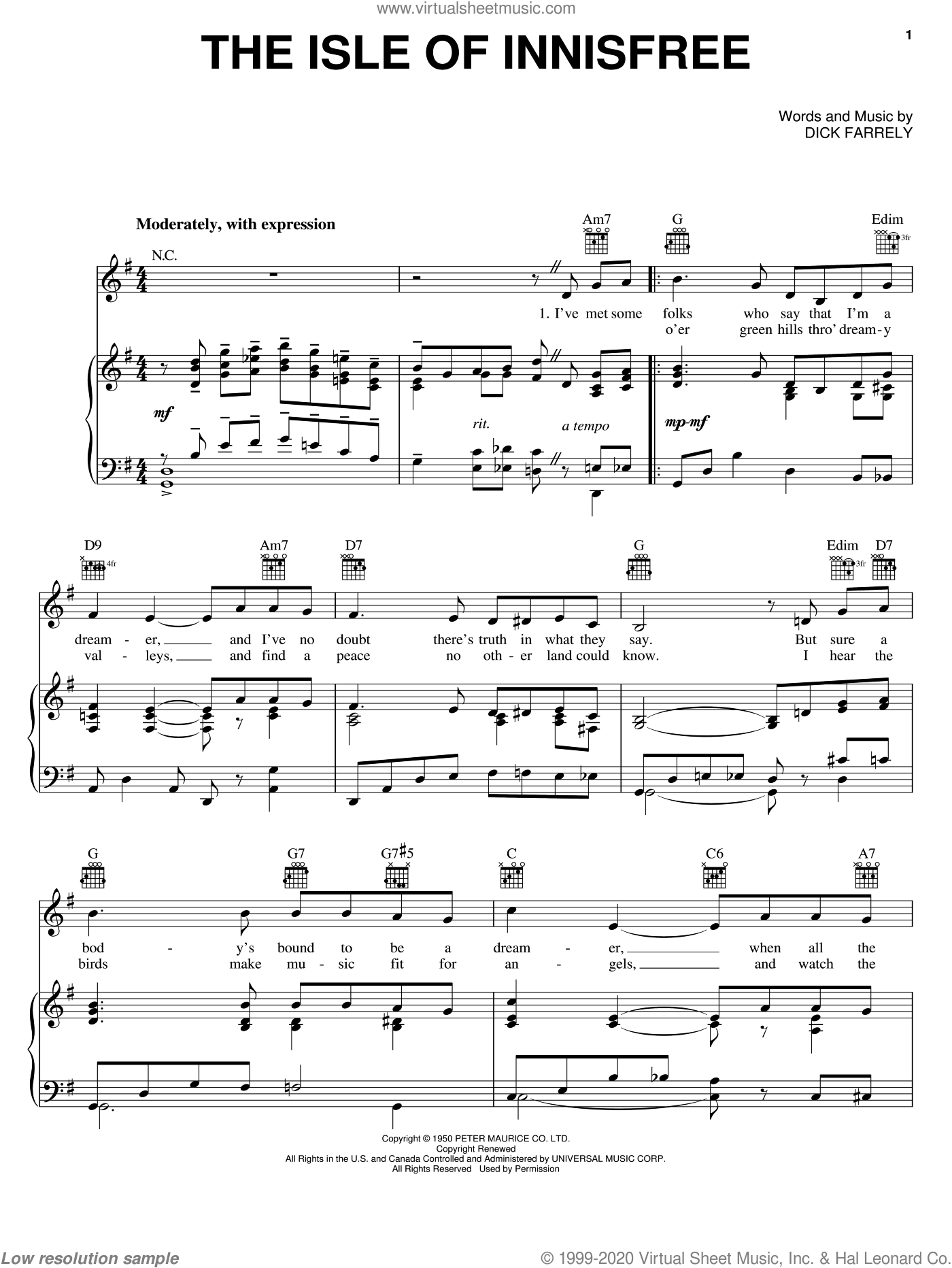 The Isle Of Innisfree sheet music for voice, piano or guitar by Dick Farrelly, intermediate skill level