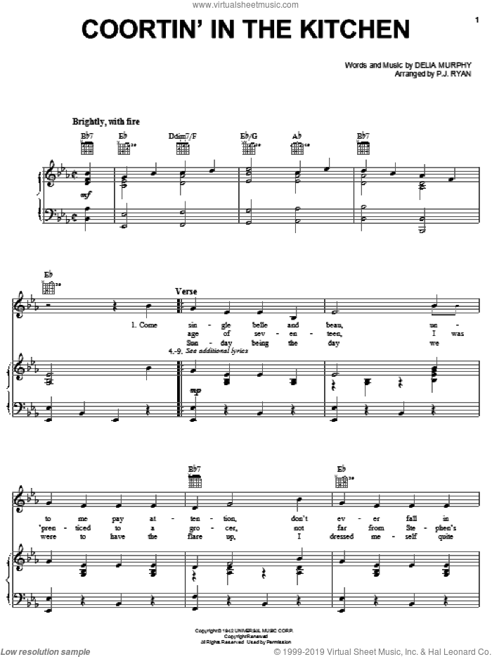 Coortin' In The Kitchen sheet music for voice, piano or guitar by Patrick Ryan and Delia Murphy. Score Image Preview.