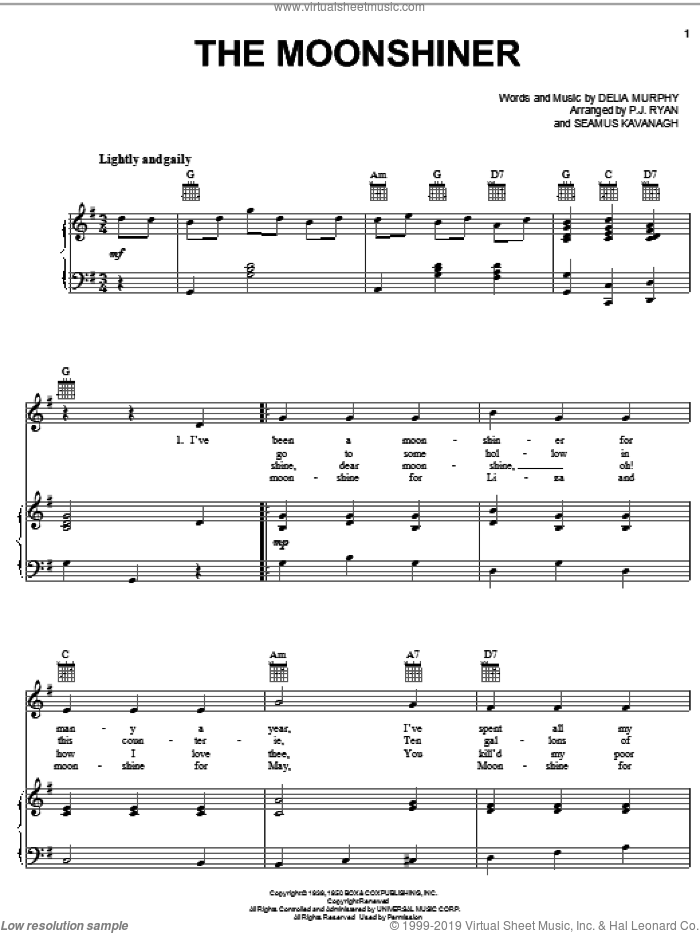The Moonshiner sheet music for voice, piano or guitar by Delia Murphy, intermediate. Score Image Preview.