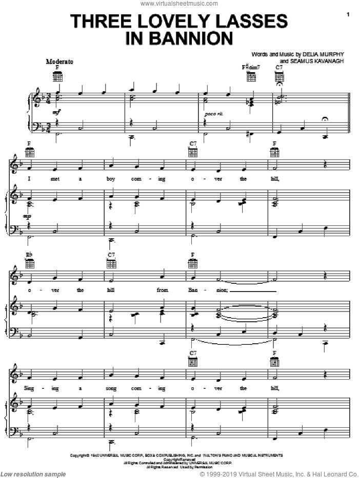Three Lovely Lasses In Bannion sheet music for voice, piano or guitar by Seamus Kavanagh