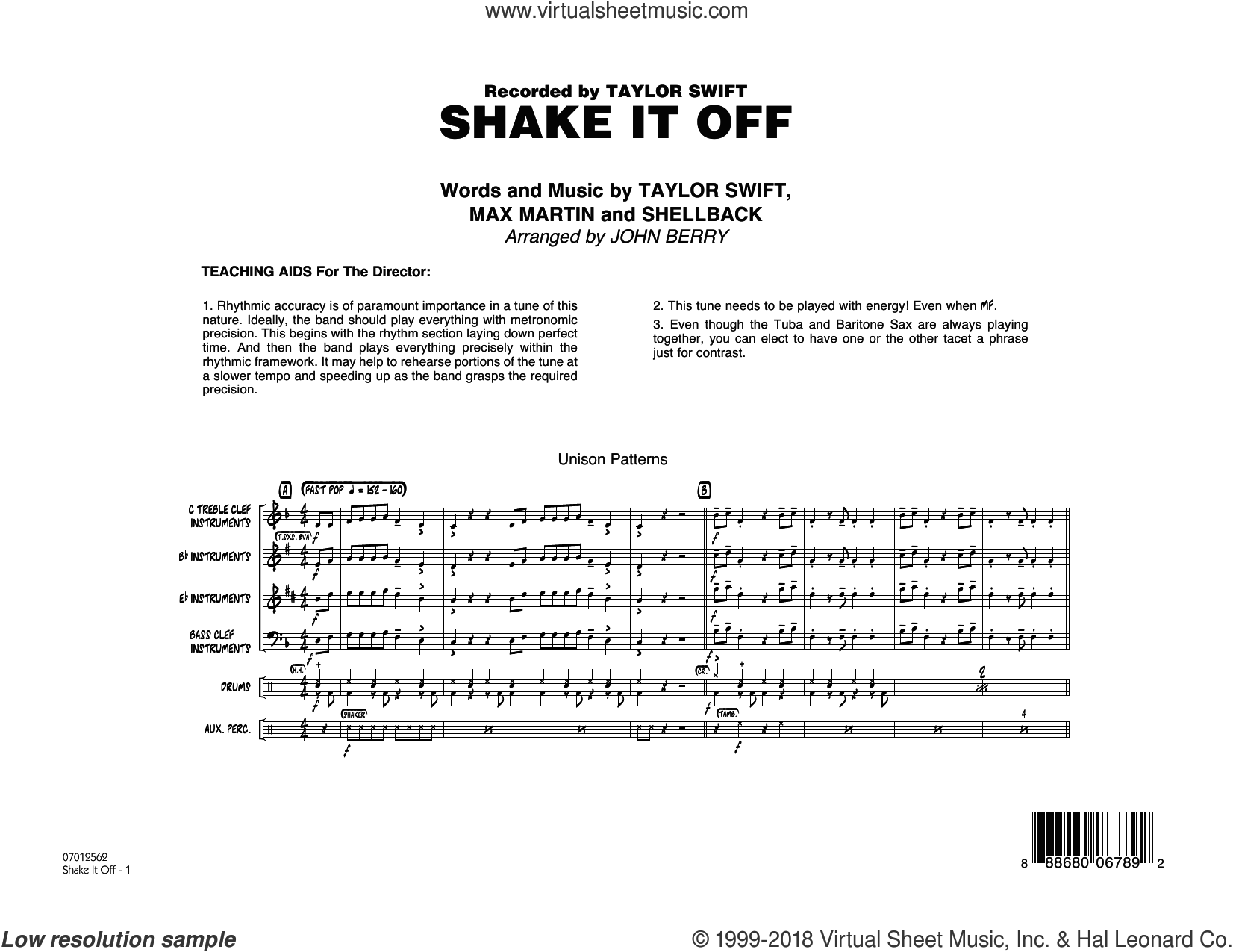 Shake It Off (COMPLETE) sheet music for jazz band by Taylor Swift, Johan Schuster, John Berry, Max Martin and Shellback, intermediate jazz band. Score Image Preview.