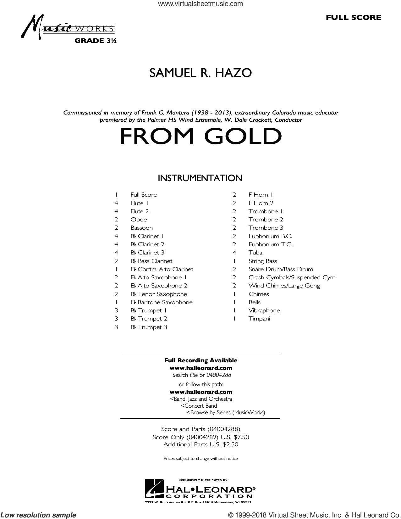 From Gold (COMPLETE) sheet music for concert band by Samuel R. Hazo, intermediate skill level