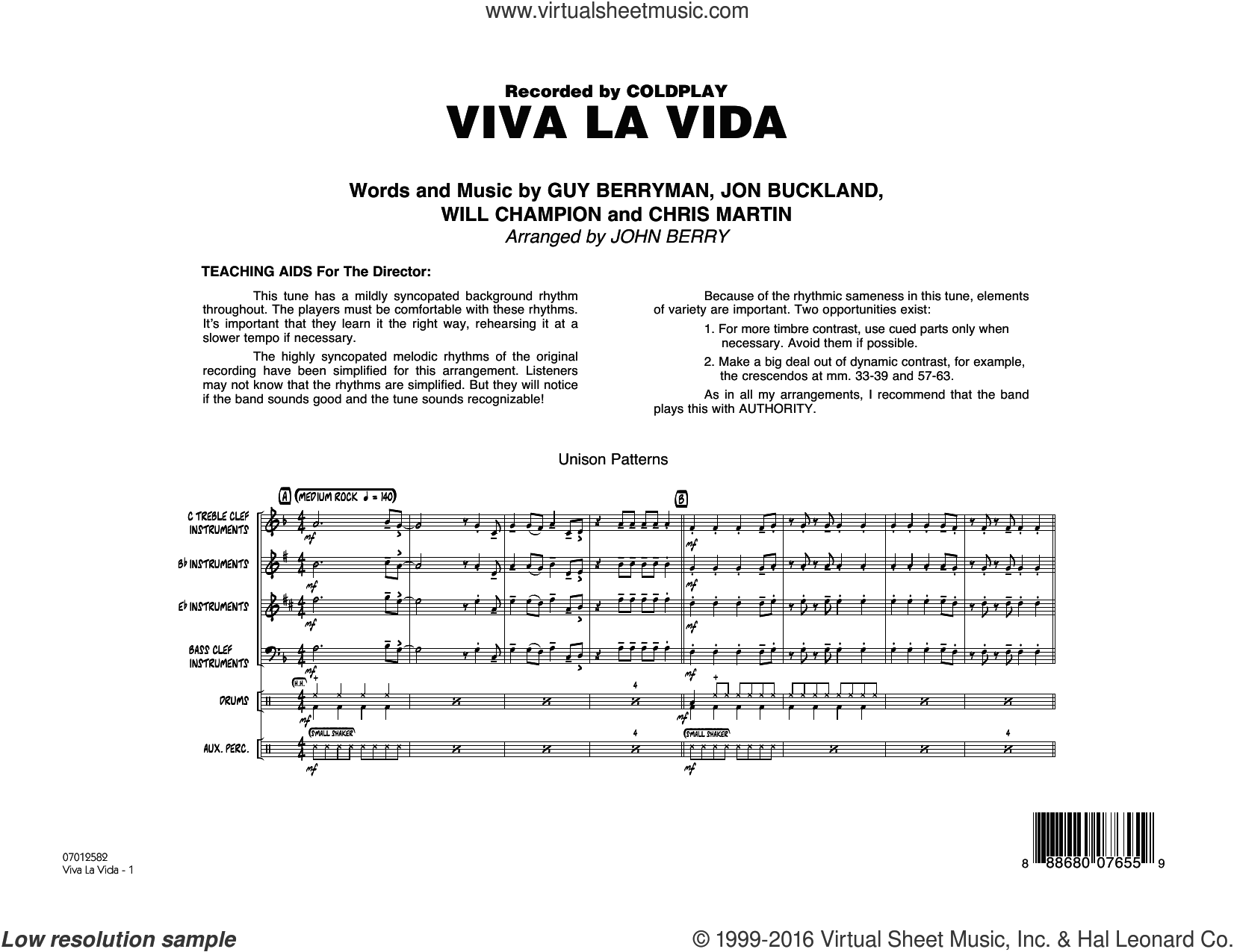 Viva La Vida (COMPLETE) sheet music for jazz band by Will Champion, Chris Martin, Coldplay, Guy Berryman, John Berry and Jon Buckland. Score Image Preview.