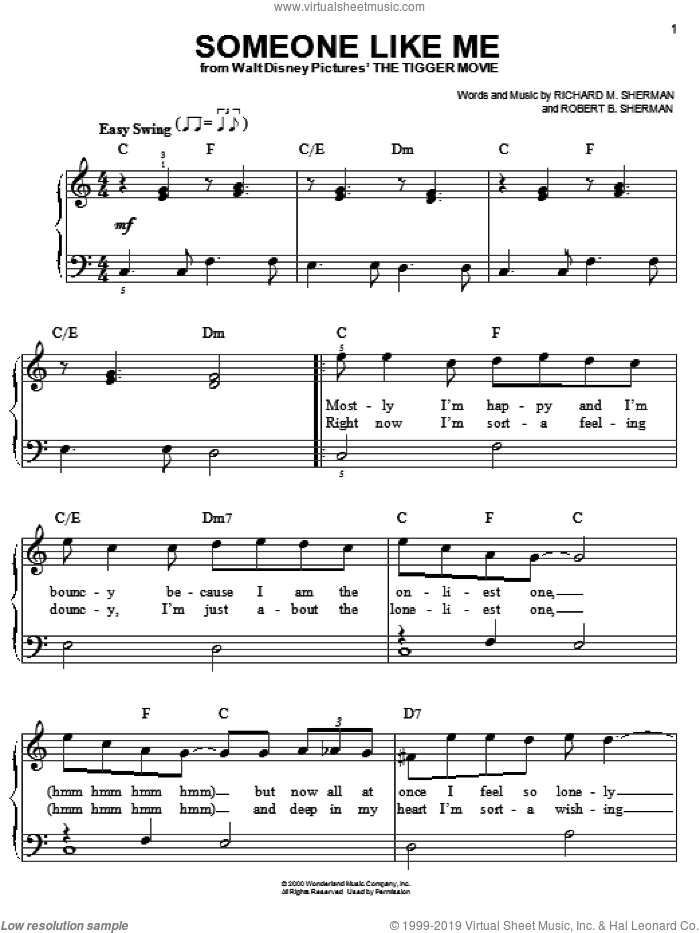 Someone Like Me sheet music for piano solo by Robert B. Sherman