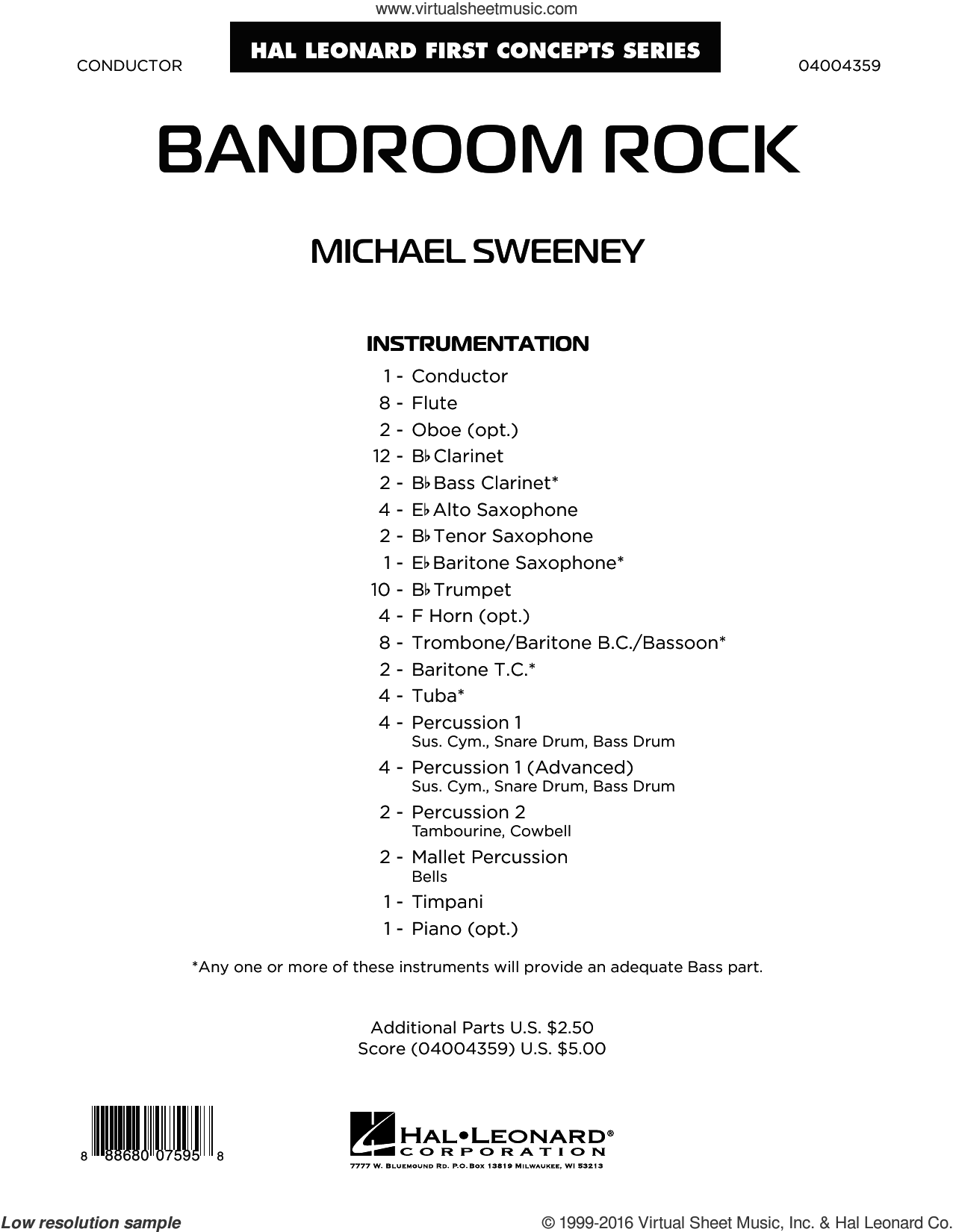Bandroom Rock sheet music for concert band (full score) by Michael Sweeney. Score Image Preview.
