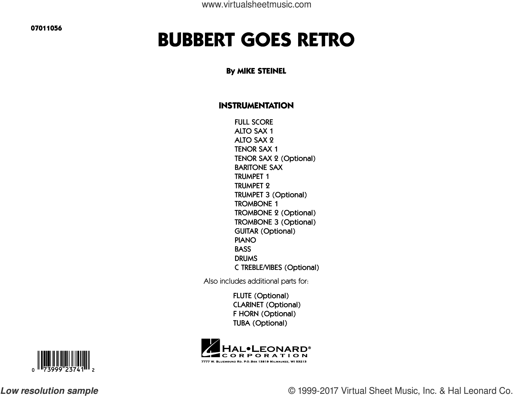 Bubbert Goes Retro (COMPLETE) sheet music for jazz band by Mike Steinel, intermediate jazz band. Score Image Preview.