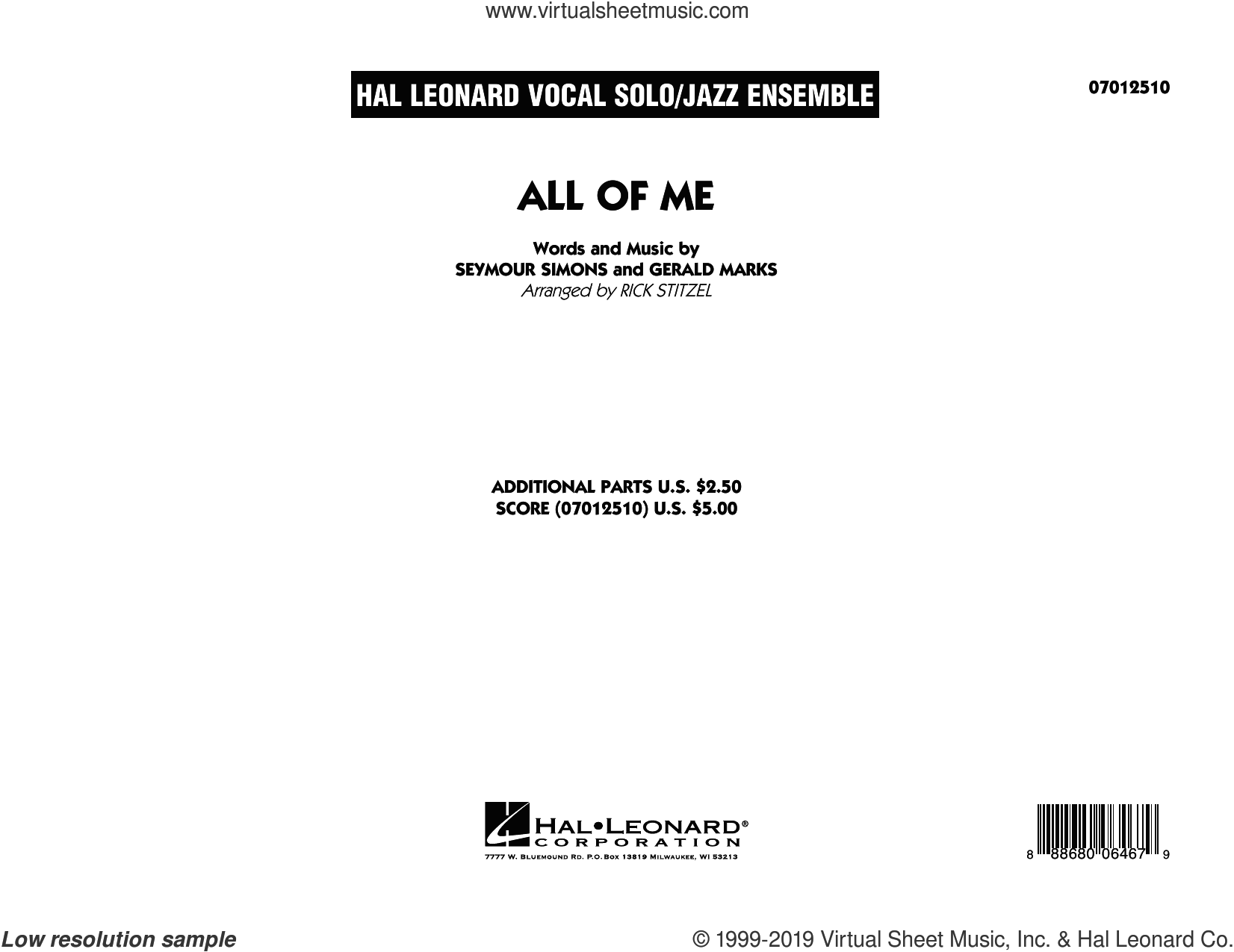All of Me (Key: F) (COMPLETE) sheet music for jazz band by Rick Stitzel, Gerald Marks and Seymour Simons, intermediate skill level